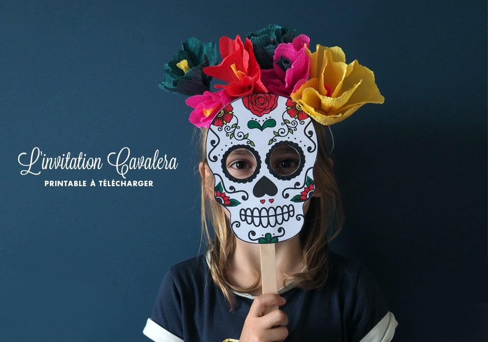 Invitation anniversaire Coco à imprimer en forme de masque calavera