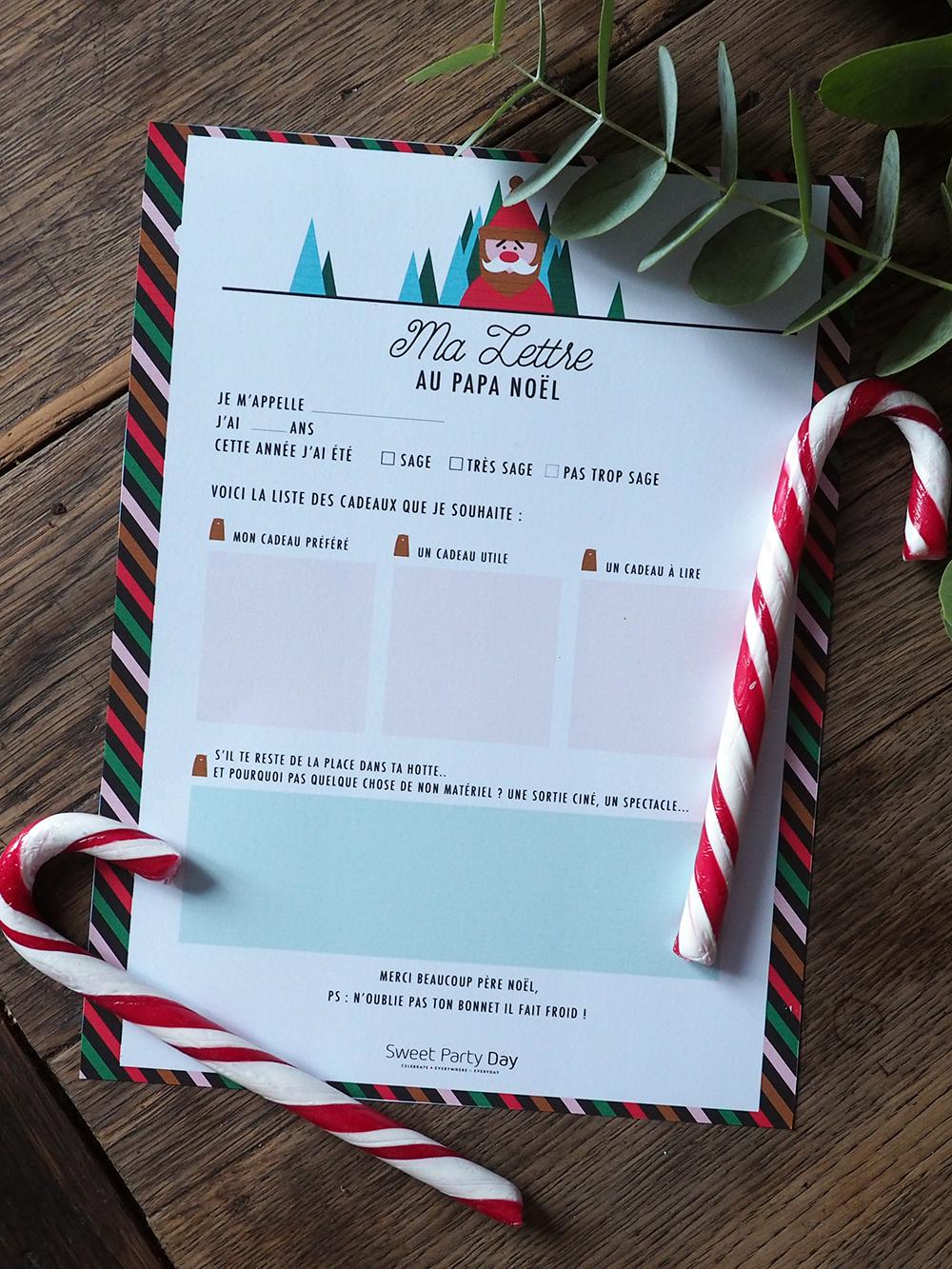Lettre au Père Noel à télécharger et à imprimer gratuitement - Sweet Party Day