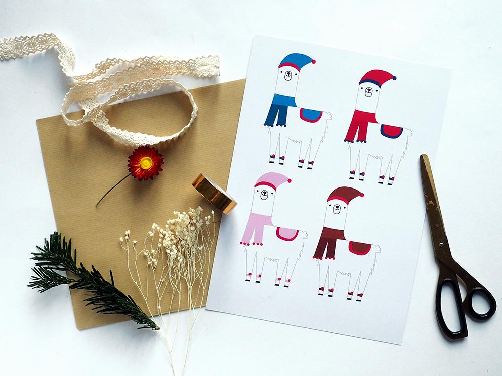 Etiquette cadeaux Noel Lama à imprimer gratuitement - Blog Sweet Party Day